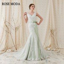 Розовое платье Русалочка с треугольным вырезом зеленые свадебные