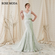 Rose Moda V-hals zeemeermin trouwjurk 2018 Groene trouwjurken met kant Backless echte foto's