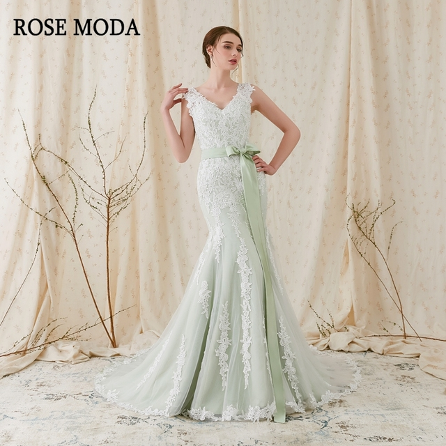 Rose Moda V Neck Mermaid Wedding Dress 2019 Green Wedding Dresses with Lace Backless Real Photos