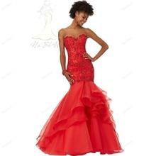 In mode 2017 New Abendkleid Sweeth Roten Abendkleid Tank Schweren Perlen Pailletten Meerjungfrau Stil Bodenlangen Abendkleid heißer