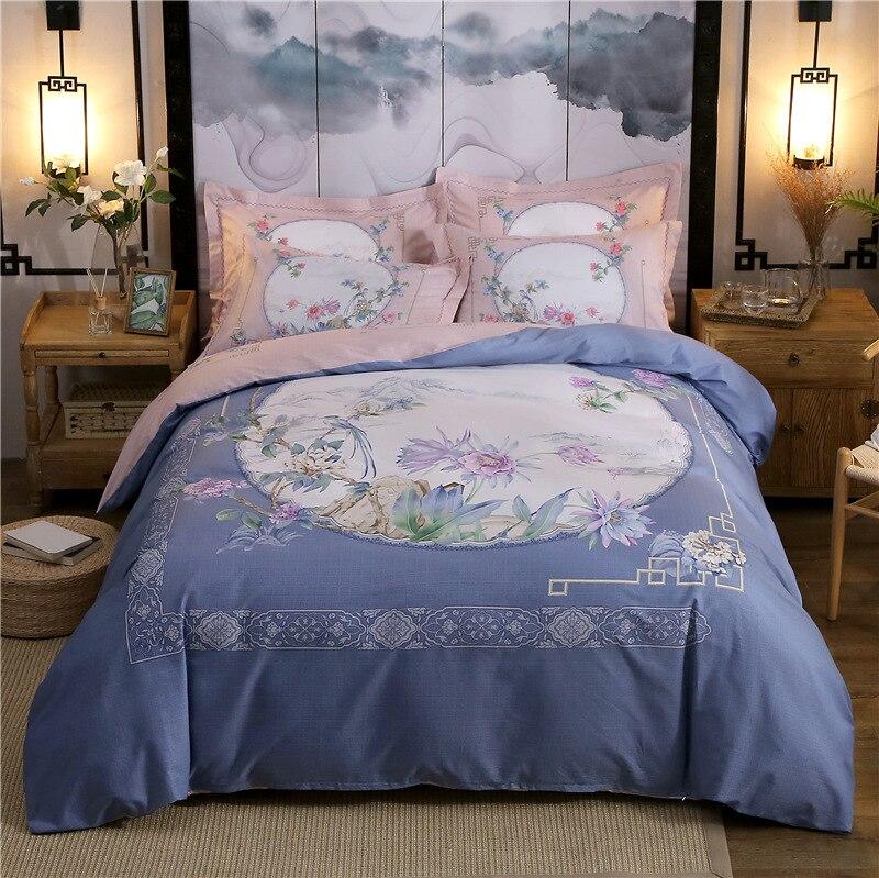 100% Katoen Comfortabele Beddengoed Sets Dubbelzijdig Printen 4-pcs Beddengoed Beddengoed Dekbedovertrek Kussensloop Laken Dessus De Lit