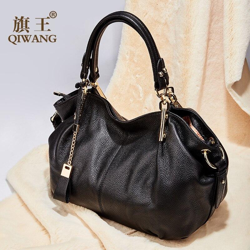 Qiwang Sacos Mulheres Genuínas Bolsas De Couro Hobo de Couro Flexível Grande Lindo Bolsas de Ombro Sacos Totes Couro de Grão Cheio