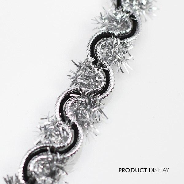 ⓪Encaje cinta plata negro tejido trenzado adorno metálico TRIM ...