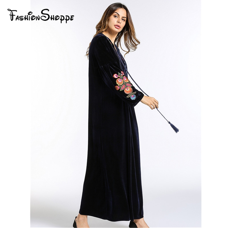 Fashion Women s Maxi Dress Embroidery Velvet Winter Abaya Warm Robe Gowns  Loose Style Muslim Middle East Arab Islamic Clothing-in Islamic Clothing  from ... 689c468e7c41