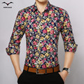 2016 Весной и осенью новый мужской Slim Корейской приливной моды случайные цветочный рубашку с длинными рукавами
