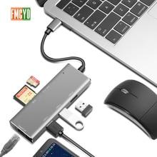 Estación de acoplamiento para ordenador portátil todo en uno USB C a lector de tarjetas HDMI adaptador PD para cubo MacBookType C