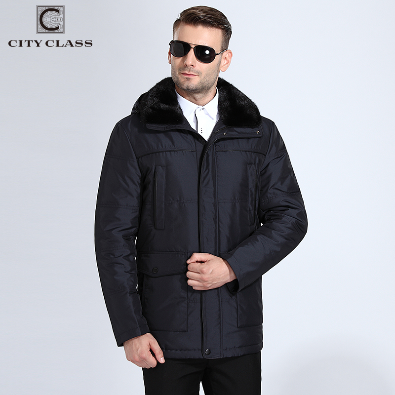 CITY CLASS New Men Thick Warm Winter Jackets Slim Fit Long Camels Hairs Removable Mink Collar