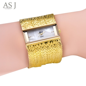 ASJ Women Quartz Watch Water Resistance Rectangle Dial Twining Chain Strap Bracelet Watch