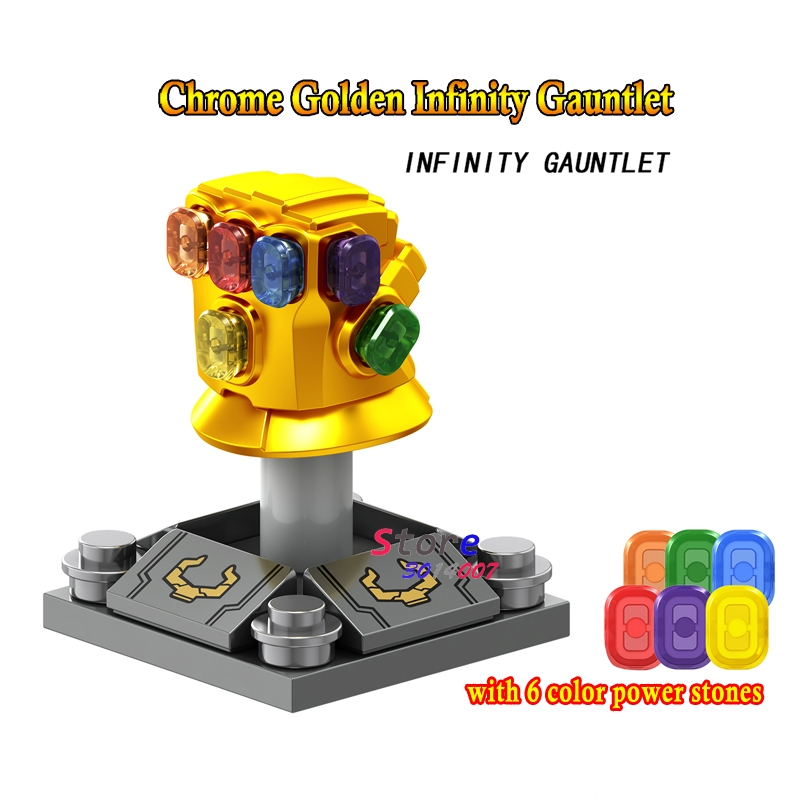 50pcs Marvel Avengers 3 Infinity War Thanos Infinity Gauntlet Chrome Golden With 6 Gems building block