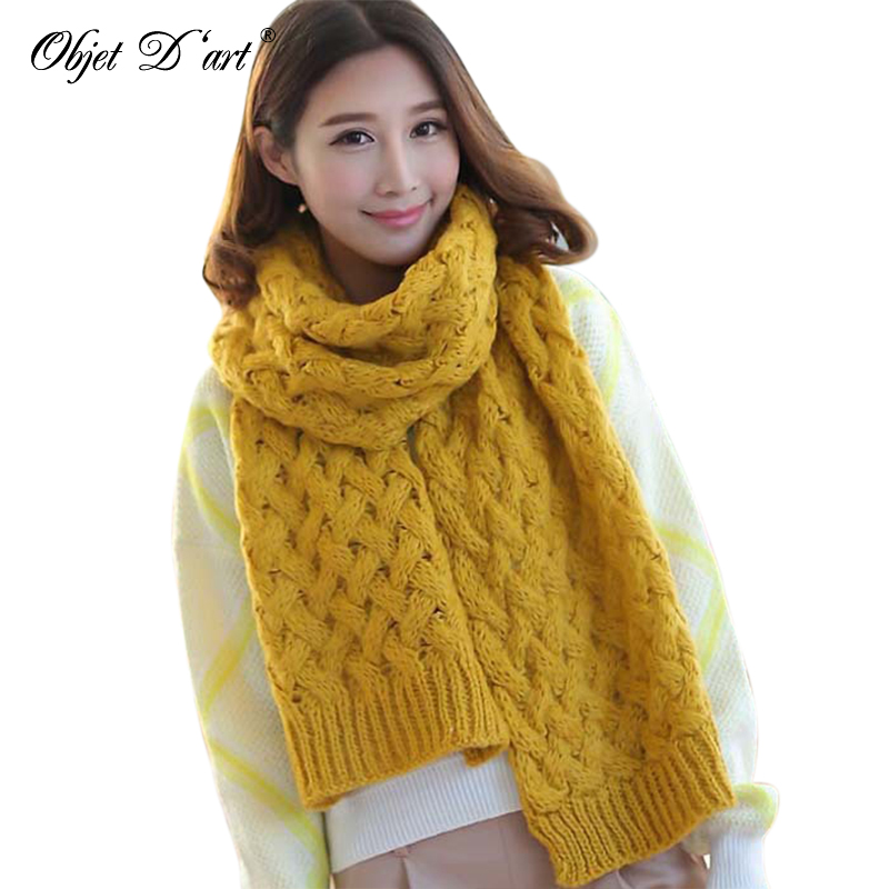 Women Elegant Knitted Warm Scarves Autumn Winter Thicker Solid Color Wrap Shawls