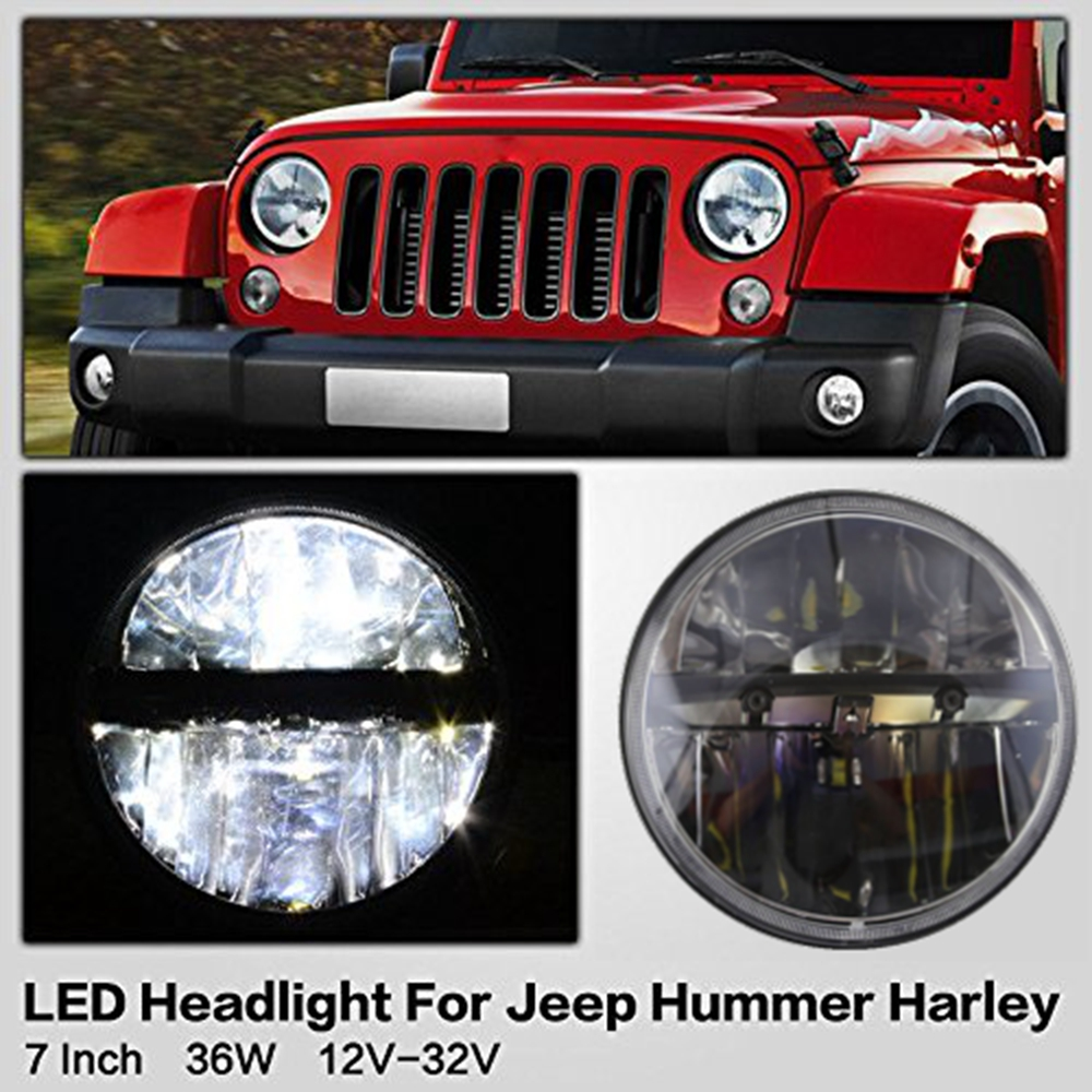 7 inch led headlight conversion kits with super bright leds light for jeep wrangler jk tj