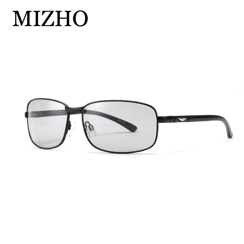 MIZHO HD All-weather Snow Light Photochromic Solglasögon Män Polariserad Night Vision Rectangle Driver glasögon för män Transparent