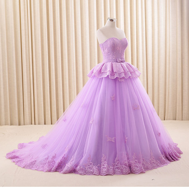 Real Picture 2017 Plus Size Princess Purple Ball Gown Wedding Dress ...