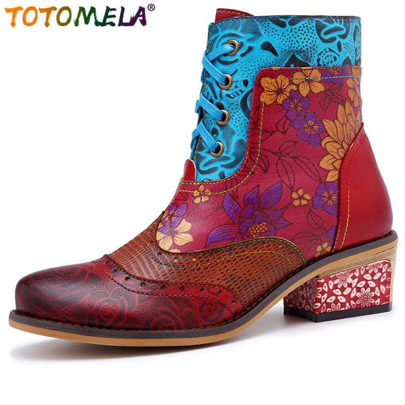 TOTOMELA 2019 Genuine leather boots vintage zipper lace up square heels fashion ladies womens ankle boots female autumn shoesTOTOMELA 2019 Genuine leather boots vintage zipper lace up square heels fashion ladies womens ankle boots female autumn shoes