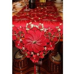 Corredor de mesa de casamento vermelho floral artesanal bordado corredor de mesa de luxo corredores de mesa para decoração de festa de evento