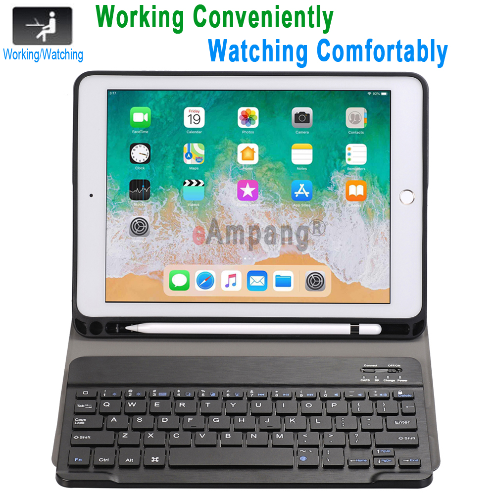 For iPad 2018 Keyboard Case with Pencil Holder for iPad 9.7 2017 2018 5th 6th Generation Air 1 2 Russian Spanish Keyboard Case