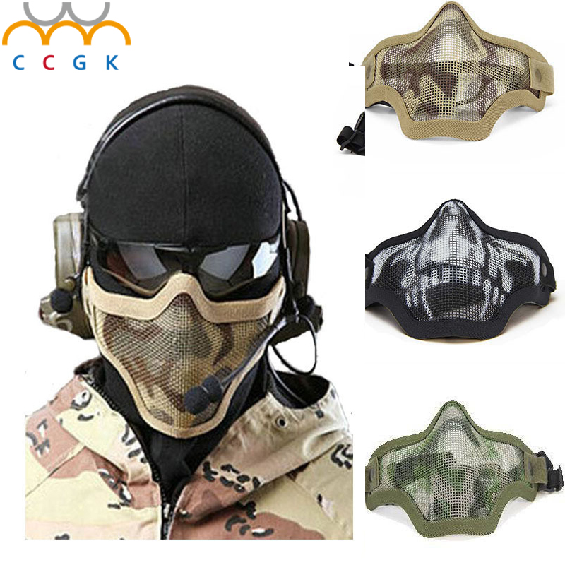2017 New military tactical mask Boutique Tactical Hunting Metal Wire Half Face CS Mask Mesh Airsoft Mask Paintball Resistant купить