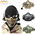2017 New military tactical mask Boutique Tactical Hunting Metal Wire Half Face CS Mask Mesh Airsoft Mask Paintball Resistant