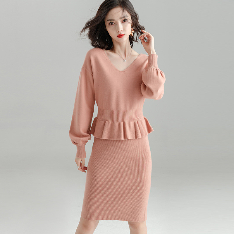 aba7af7c684c Elegant Women Suits Autumn Winter 2 Piece Sweater Slip Dress Suits V Neck  Jumpers Knitted Suits