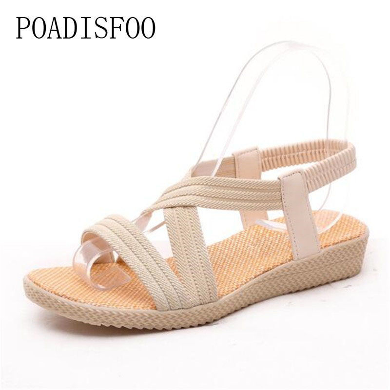 POADISFOO 2017 Fashion Sandals Women Summer  wedges Open Toe Thick Heel Soft Strip PU Women Sandals high-heeled .HYKL-2618 summer causal open toe buckle high heeled thick waterproof platform sandals for women