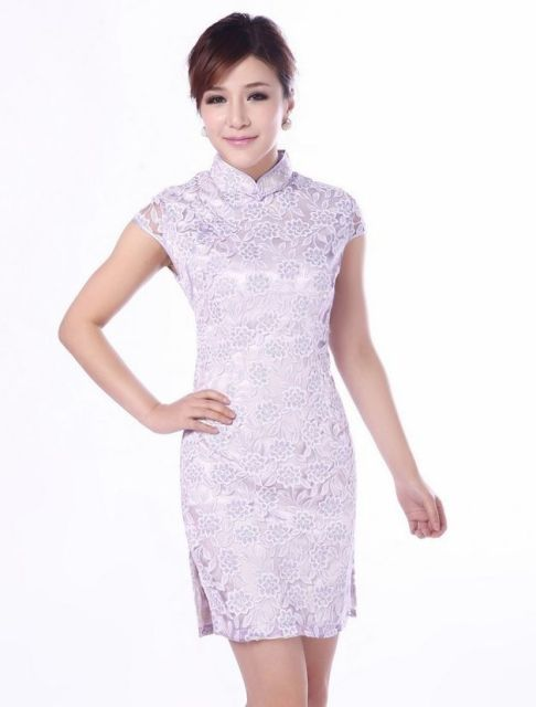 Light Purple Fashion Chinese Women s Lace Mini Cheongsam Qipao Dress Size S  M L XL XXL JY016--1-A 27ca11927b