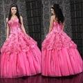 Decorativo saia de renda rosa applique lace-depois de diamantes doce bonita do vestido de casamento da princesa doce 16 vestidos vestidos de 15