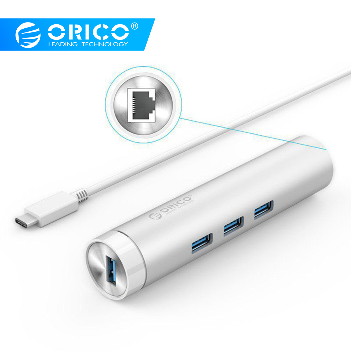 ORICO ARH3L-U3 Aluminum Round USB3.0 HUB with RJ45 Port USB A to Type-C for Apple Laptop Macbook Surface Pad Perfectly - Silver