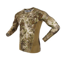 Men Spring Autumn New Python camouflage Print T-Shirts Army Green Sports long Sleeve Tees Outdoor Camping Tactical Military Camo