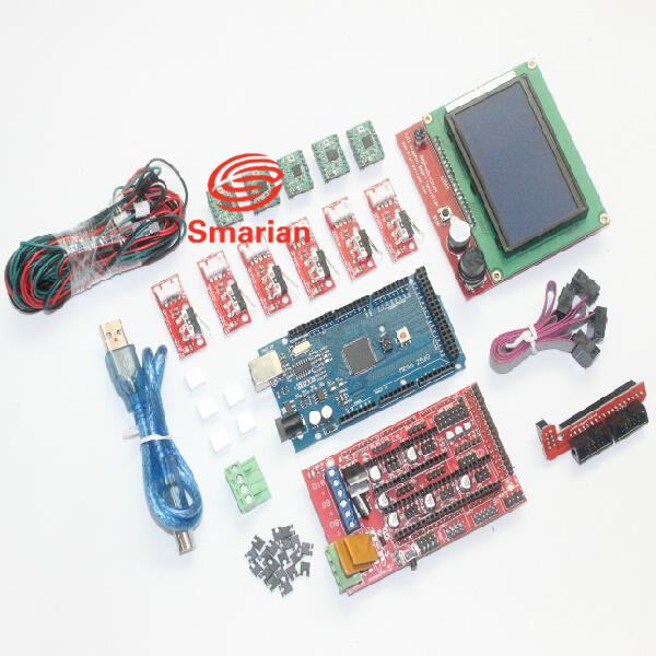 3D Printer Kit for Arduino Mega 2560 R3 + RAMPS 1.4 Controller + LCD 12864 + 6 Limit Switch Endstop + 5 A4988 image
