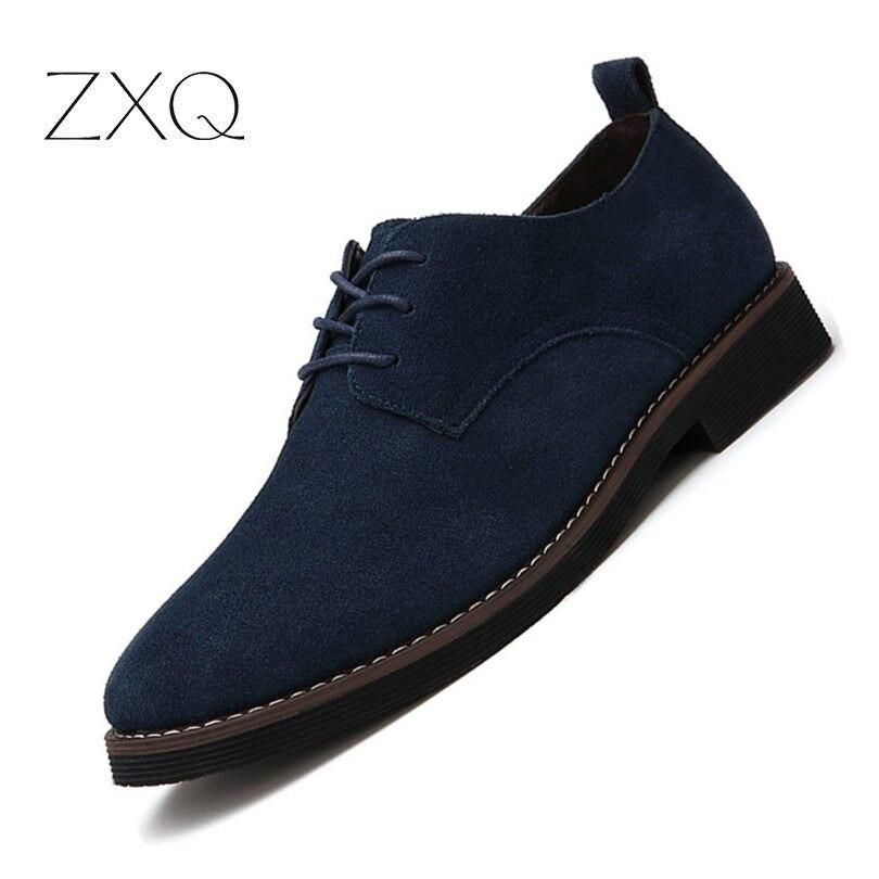 Marque Italie Chaussures Homme Oxford Chaussures Mode Nubuck Véritable Cuir Anti Slip Dentelle-Up Oxford Mocassins Plat Hommes Chaussures