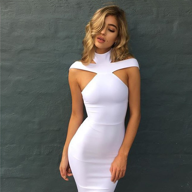White Bandage <font><b>Sexy</b></font> Dresses <font><b>Party</b></font> Night <font><b>Club</b></font> Dress <font><b>2018</b></font> <font><b>Bodycon</b></font> <font><b>Off</b></font> <font><b>Shoulder</b></font> Backless Turtleneck Sleeveless <font><b>Elegant</b></font> Pencil Dress image