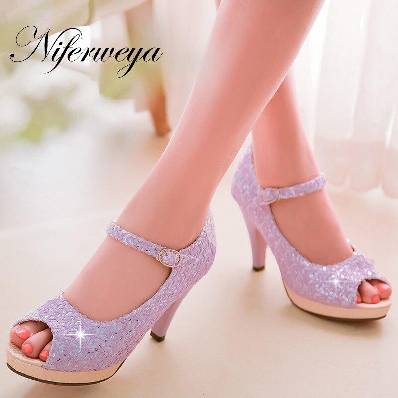 bbc4cf334 Moda Primavera/Outono mulheres sapatos Tamanho grande 31-43 estilo doce  Peep Toe bombas