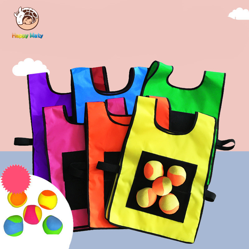 Happymaty Game Props Vest Sticky Jersey Vest Game Vest Waistcoat With Sticky Ball Throwing Children Kids Outdoor Fun Sports Toy