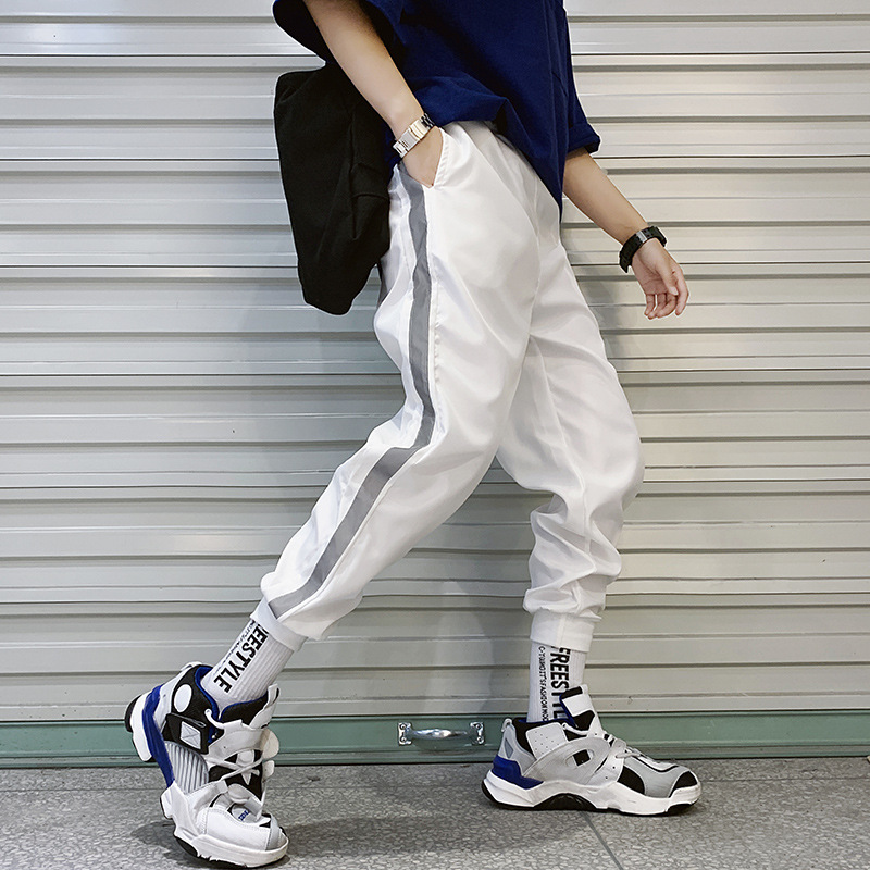 Casual Trousers Track-Pants Jogger Street-Wear Skinny Hip-Hop Side-Stripe Elastic-Waist