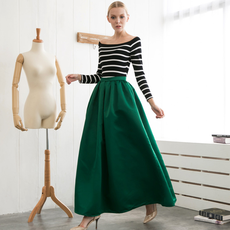 Dark Green A Line Skirt - Dress Ala