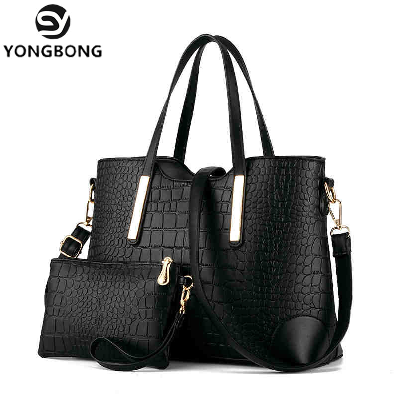 YONGBONG 2017 2 Sets Messenger Bags Purse Women Large Handbags Crocodile Leather Handbag Ladies Brand Design Bag Shoulder bags new 2015 women handbags leather handbag women messenger bags ladies brand designs bag handbag messenger bag purse 6 sets gd05