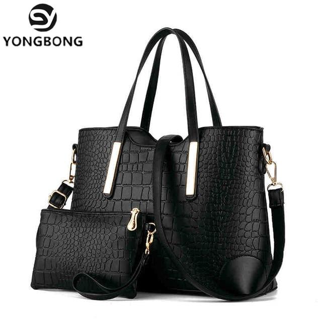 Yongbong 2017 2 Sets Messenger Bags Purse Women Large Handbags Crocodile Leather Handbag Las Brand Design