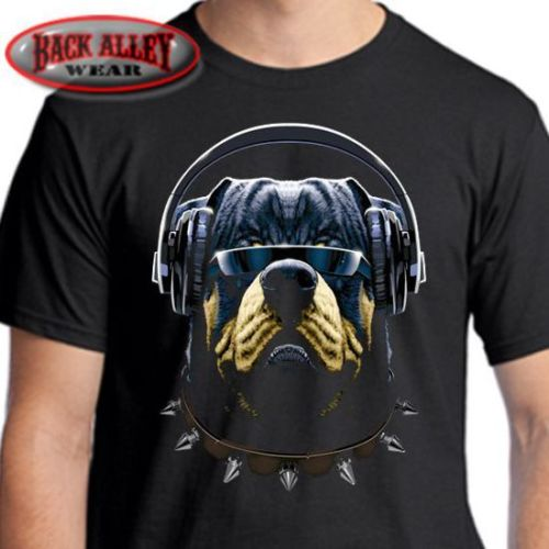 Rottweiler Headphones T-Shirt Big Dog Cool Customer New 2019 T-Shirt Summer Short Sleeves Cotton Custom T Shirts