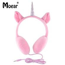 hot deal buy children girls kids unicorn headphones for tablet mp3 players pc pink