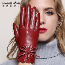 2017Leather gloves female sheepskin women touch screen leather winter thick warm 011