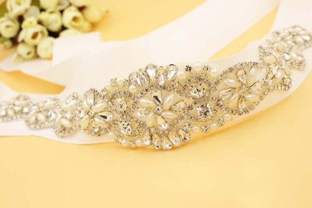 Honey Qiao Crystal Bridal Belts for Wedding Dresses 2017 Cinturones de novia con Luxury Cristales Rhinestone Sashes