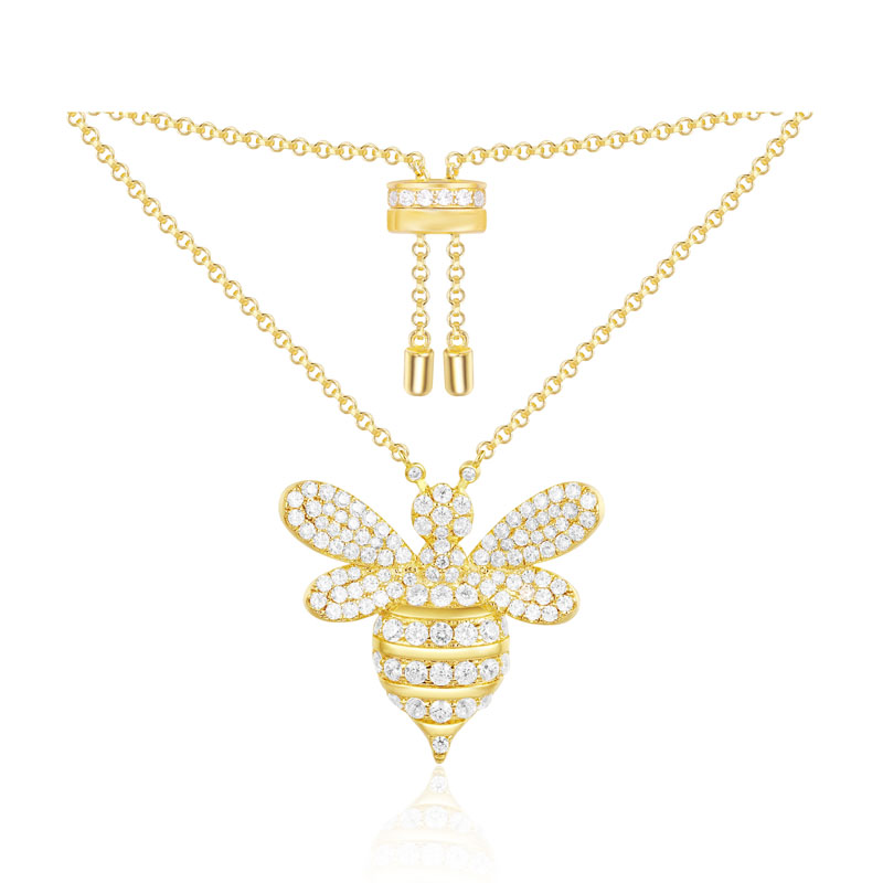 SLJELY 925 Sterling Silver Yellow Gold Color Bumble Bee Pendant Necklace Women CZ Zircon Monaco Jewelry