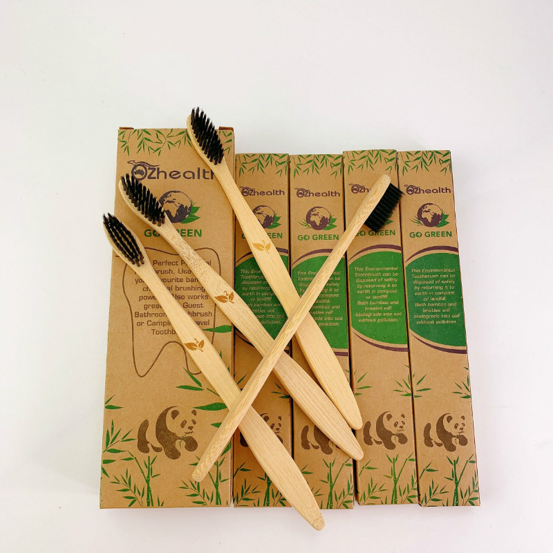 1Set/4 PCS  Bamboo Toothbrush  All Natural Bio Degradable Bamboo Health Comfort  Toothbrush