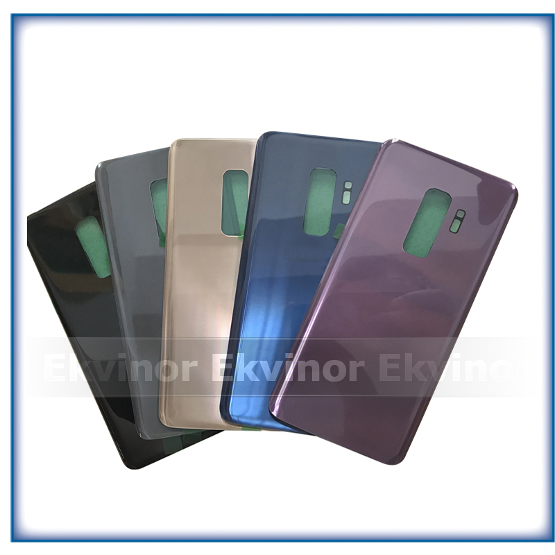 Ekvinor 10pcs Rear Battery Door <font><b>Back</b></font> Cover Case For Samsung Galaxy S9 <font><b>G960</b></font> S9 + G965 S9 Plus <font><b>Back</b></font> Glass Housing Cover + Adhesive image
