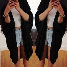 Women Fashion Coat Bat-wing Sleeve Knit Cardigan Autumn Winter Tops new  black grey jacket S,M,L,XL,XXL,XXXL