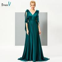 DressV A Line Long Evening Dress Emerald V Neck Sexy Backless Sweep Train Formal Evening Gowns