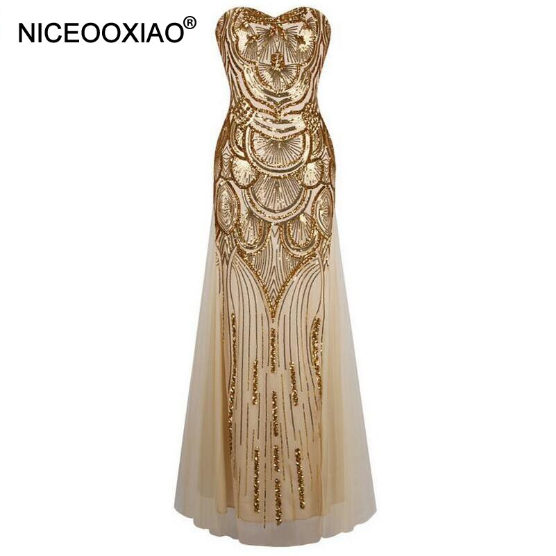 NICEOOXIAO Golden Long Bling Bling Sequined Evening Dresses Elegant Strapless Padded Sexy Backless Party Occasion Formal