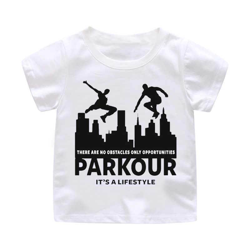 5042efa2e6 De Parkour Funny Anime diseño de impresión camiseta niños y niñas algodón  suave blanco camiseta ropa