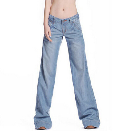 New Plus Size 26-34 Wide Leg Flare Jeans Women Trousers