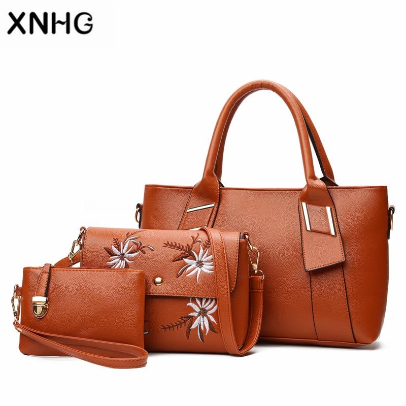 2018 Fashion New Women Shoulder Bags Female PU Leather Handbags Purse High Quality Six-Piece Set Designer Brand Bolsa Feminina